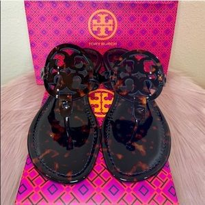 Tory Burch Patent Leather Tortoise Shell Sandals
